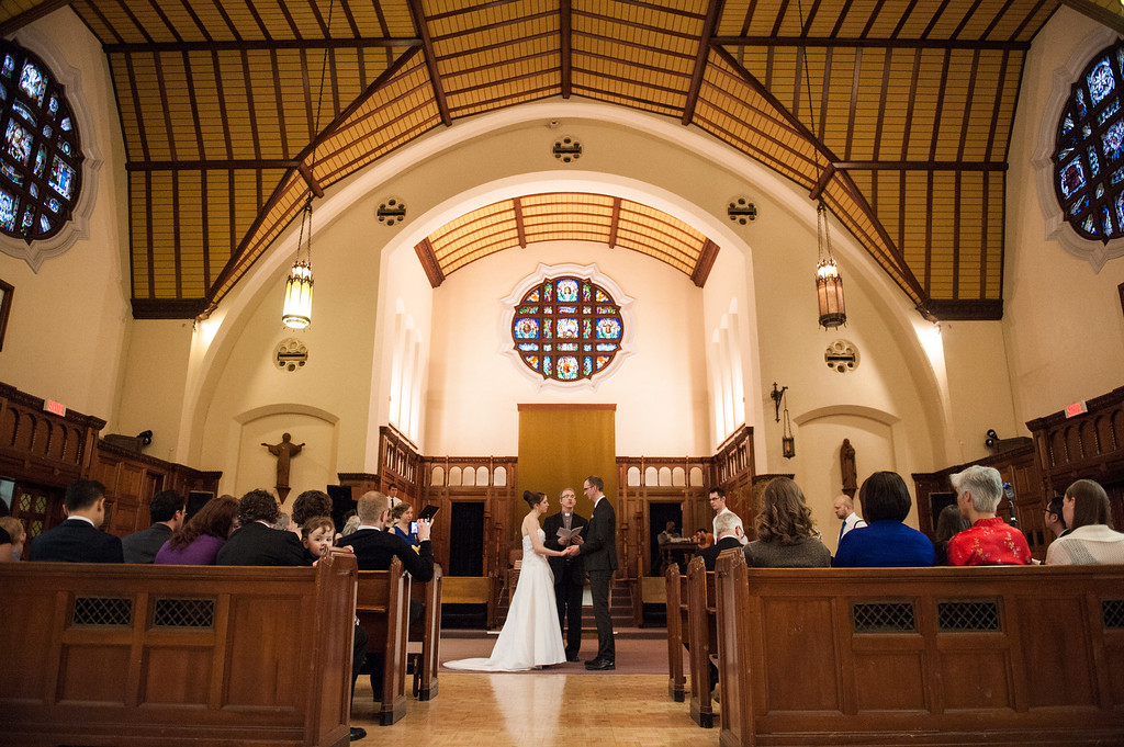 Wedding ceremony at Loyola Chapel in Montreal