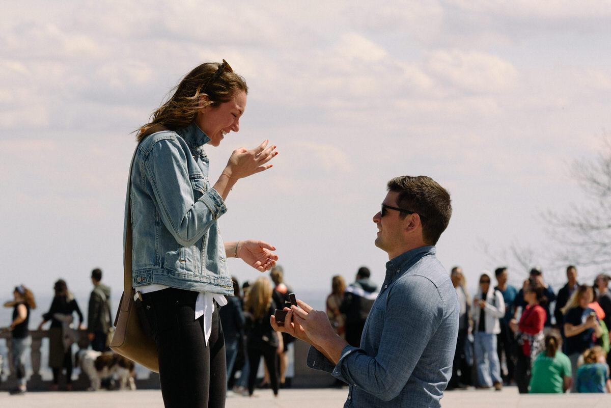 Surprise proposal at Mount Royal lookout