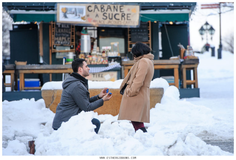 A winter proposal in Old Montreal