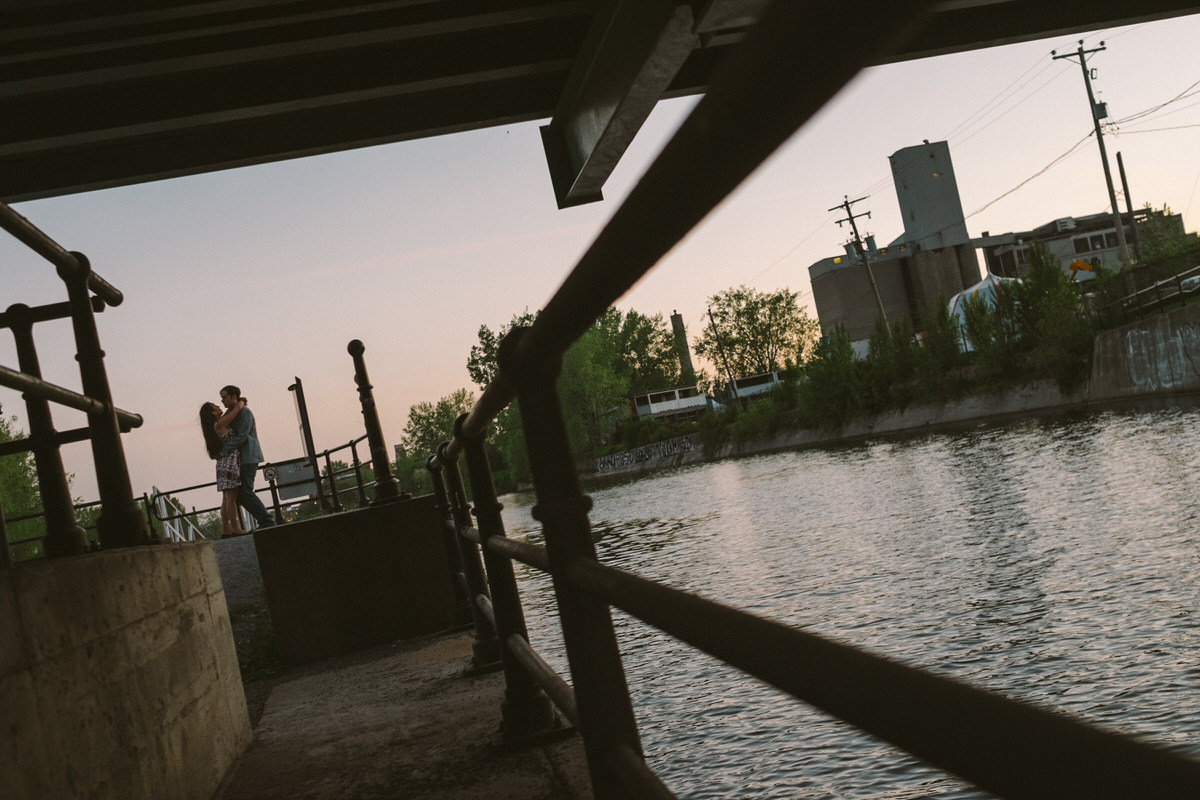 Engagement photo in Griffintown along the Lachine Canal