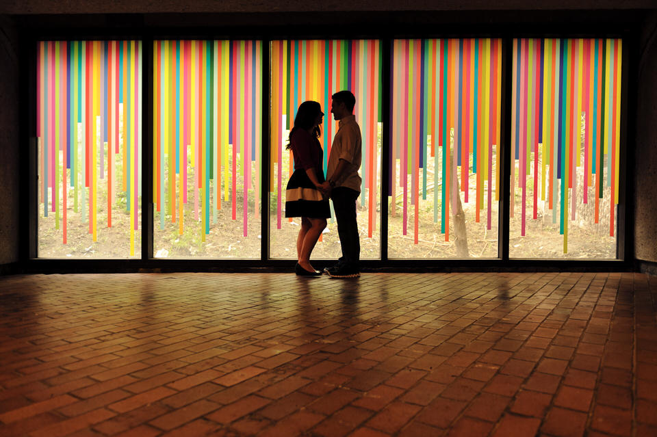 Engagement photos in the tunnel under Champ-de-Mars metro station, Old Montreal