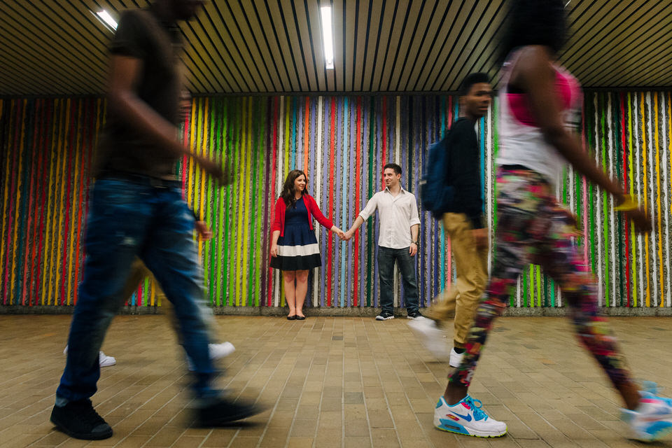 Passers-by frame these engagement photos in Montreal's underground city