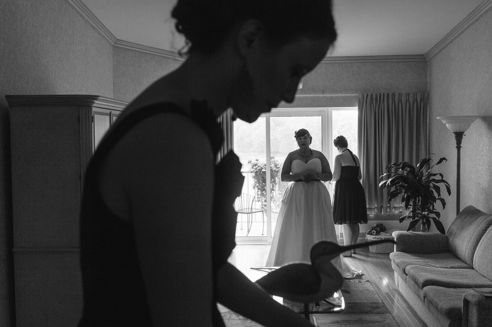 Bride getting ready with friends at Hotel Trois Tilleuls