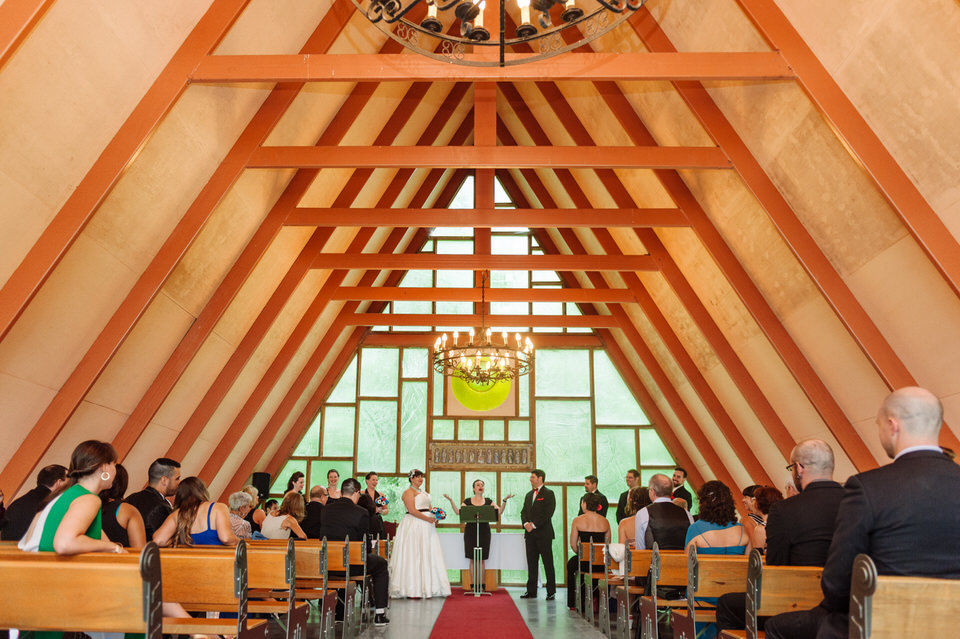 Inside the modern A-frame chapel on the Hotel Trois Tilleuls grounds