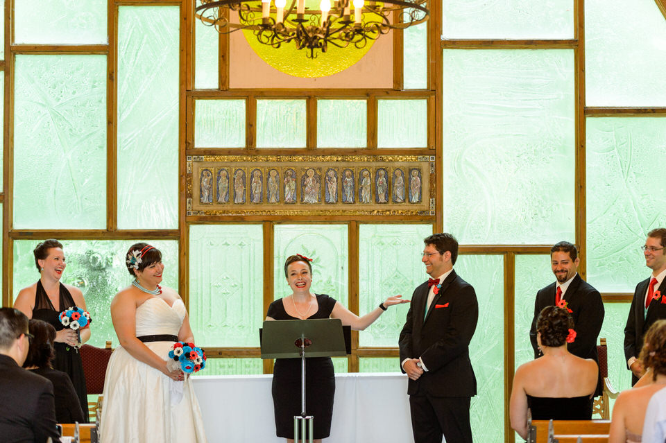 A close friend of the couple officiated the wedding ceremony