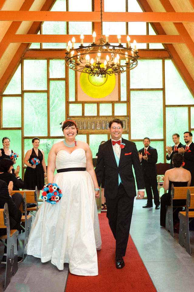 Bride and groom exiting the wedding chapel at Hotel Trois Tilleuls