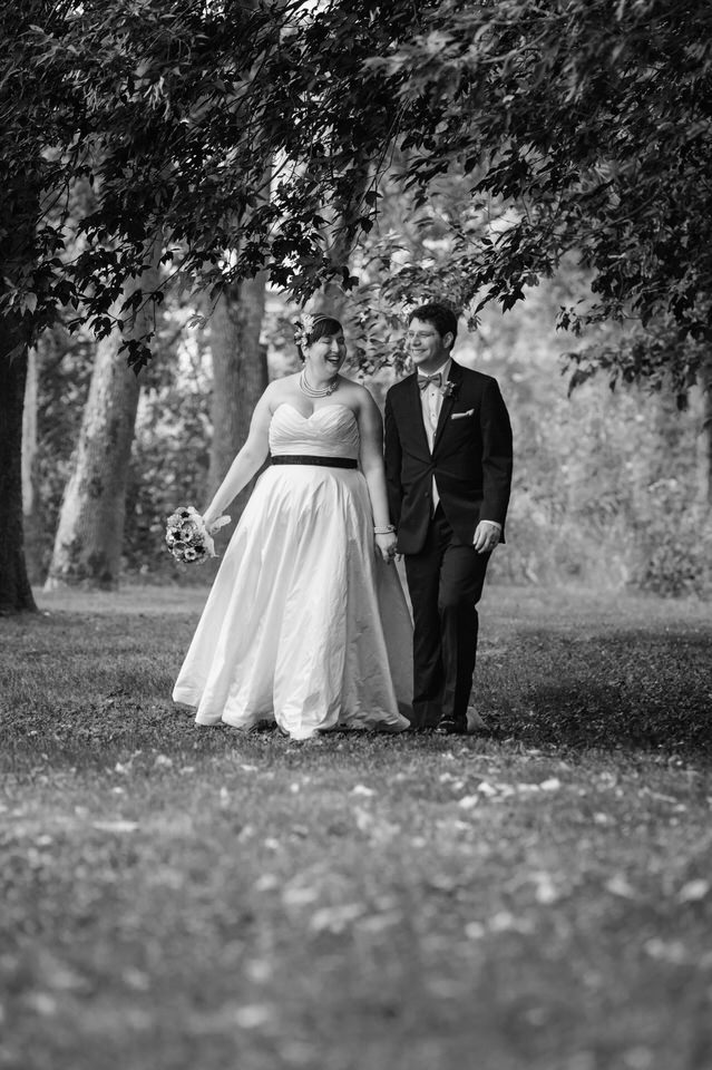 Black and white wedding portrait on grounds of Hotel Trois Tilleuls