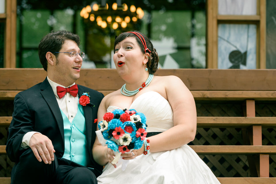 Wedding couple laughing together