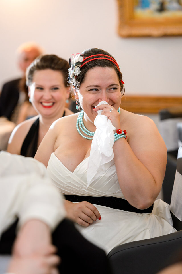 Emotional bride smiling through tears