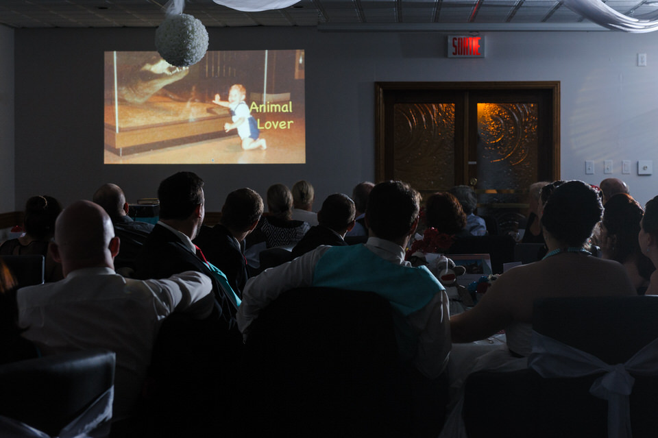 Wedding guests watching a slideshow
