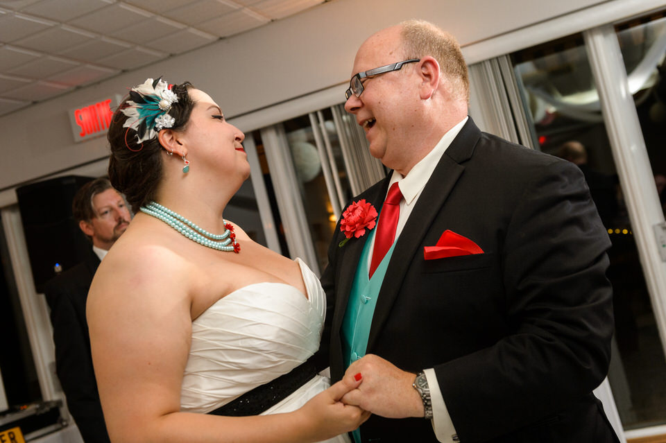 Bride dancing with her step dad