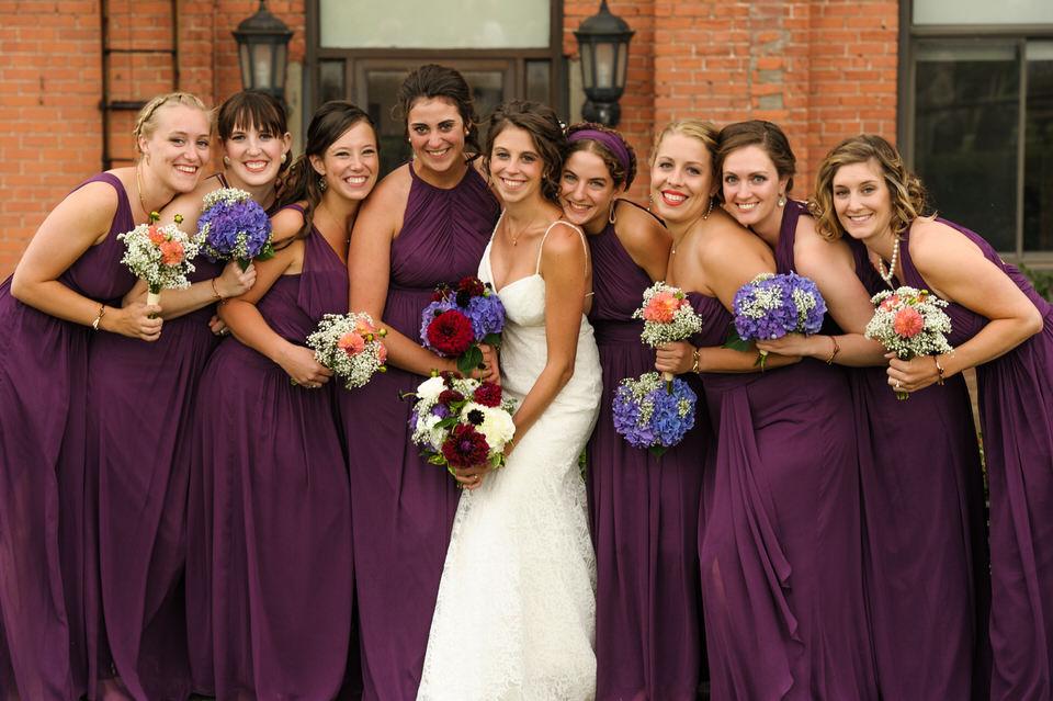 Bridesmaids portrait with bride