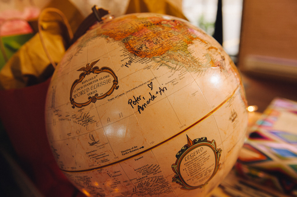 Travel-themed wedding decor with globe for guests to sign