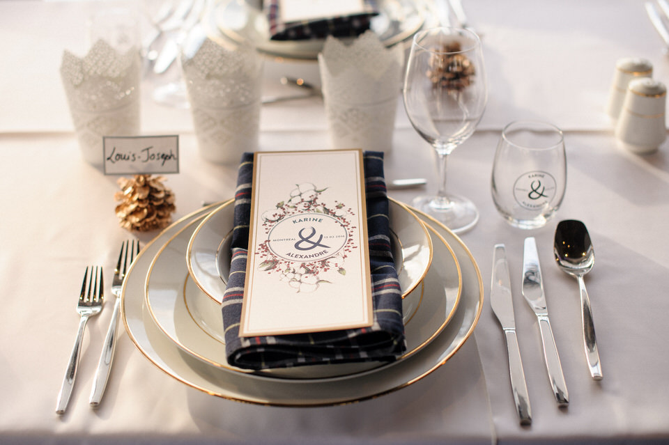 Place setting at winter wedding