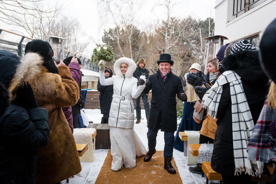 Cérémonie de mariage en hiver au Parc Jean-Drapeau