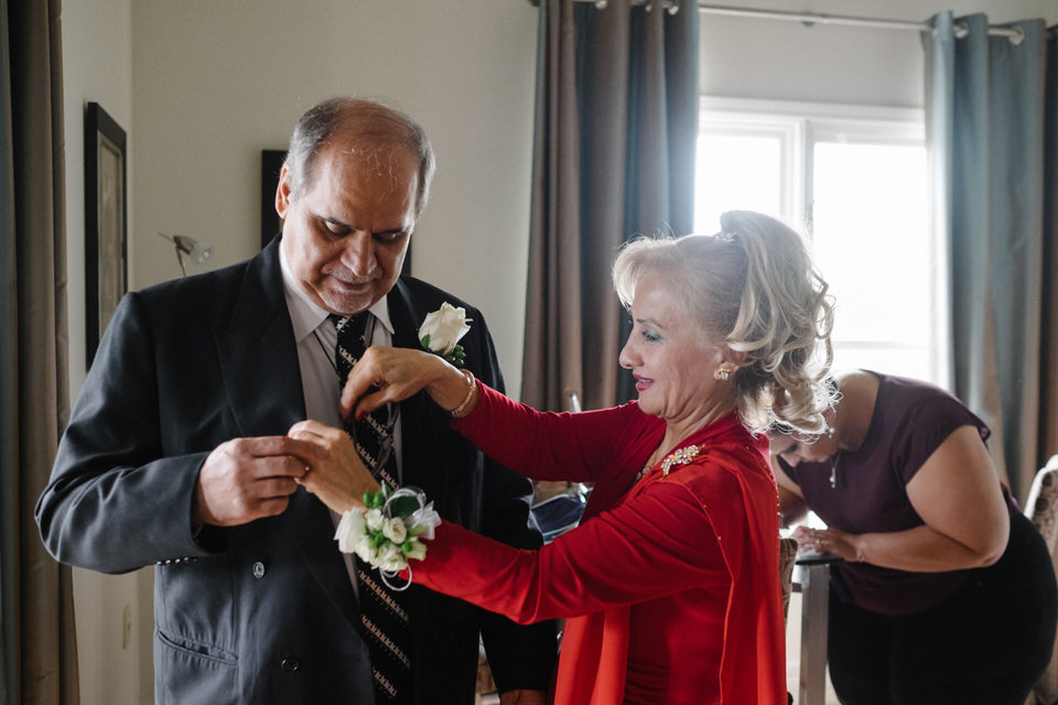 Groom's parents getting ready