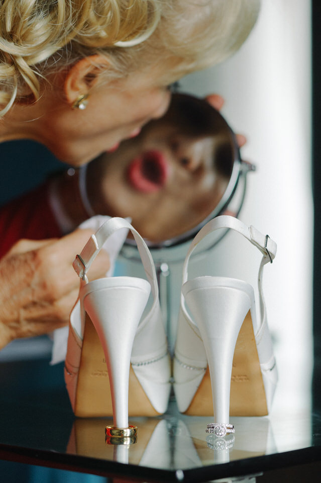 Groom's mother cleaning
