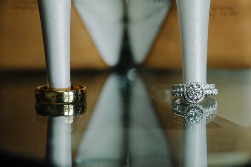 Closeup of wedding rings and shoes