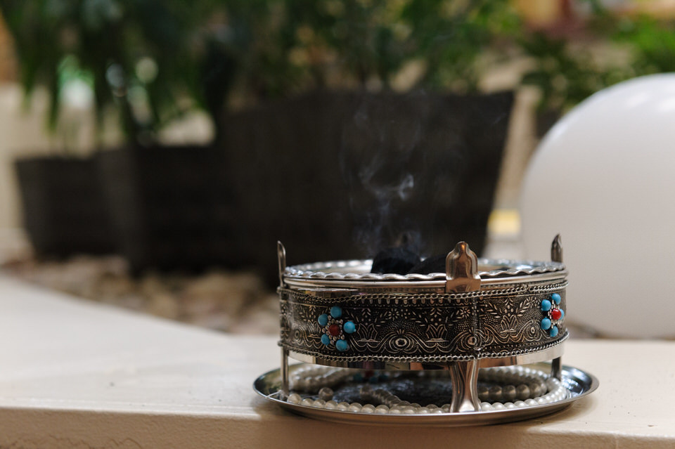 Burning coals at Persian wedding