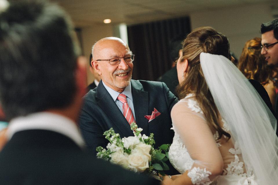 Guests congratulating the bride