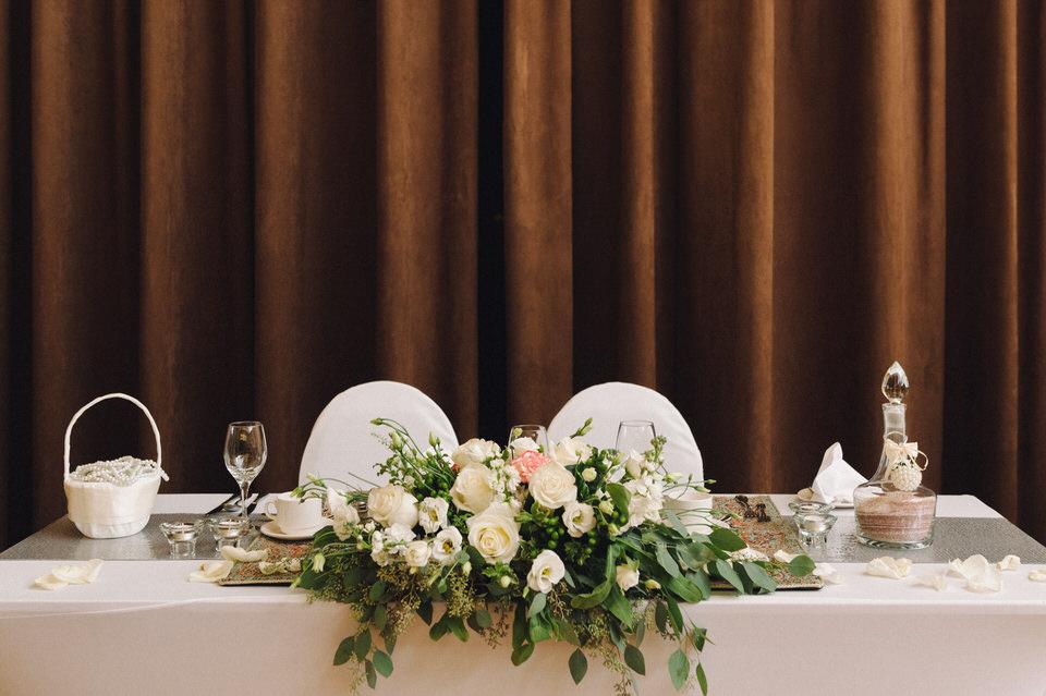 Wedding decor on head table