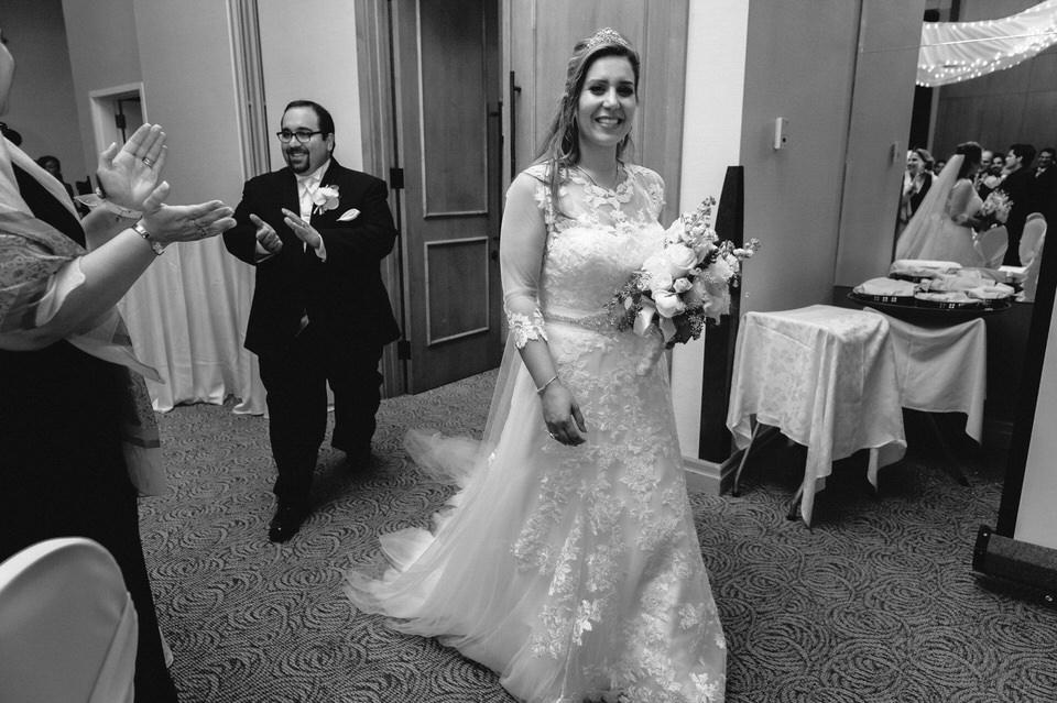 Wedding couple entrance at reception