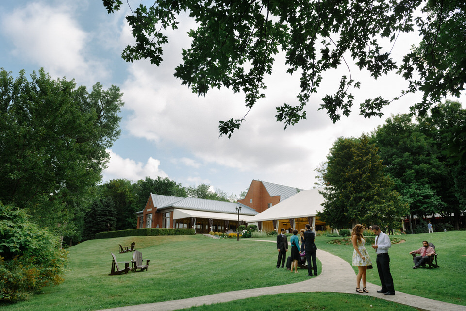 Wedding guests gathering at Manoir Rouville-Campbell