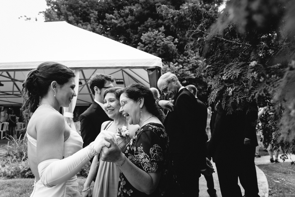 Family members congratulating bride