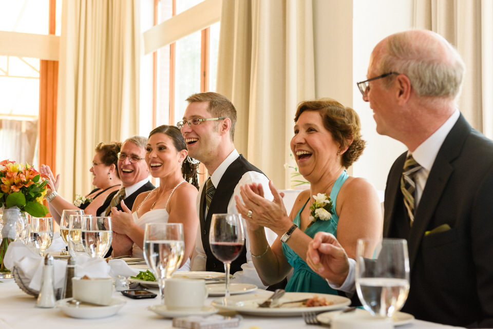 Head table laughing at speech