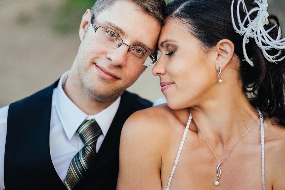 Close up on wedding couple