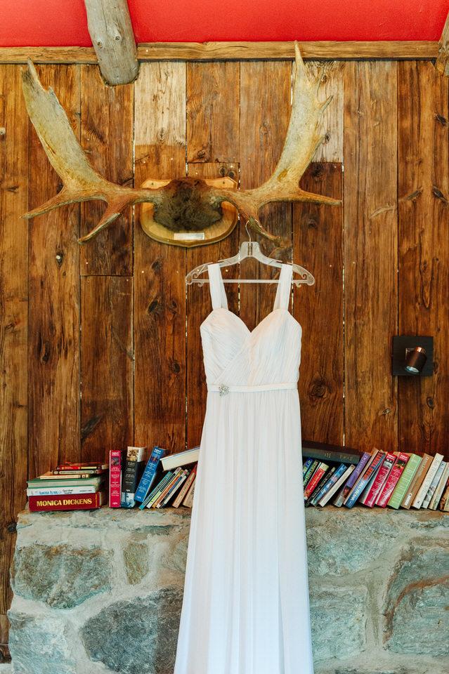 Robe de mariage qui pend sur un bois d'orignal