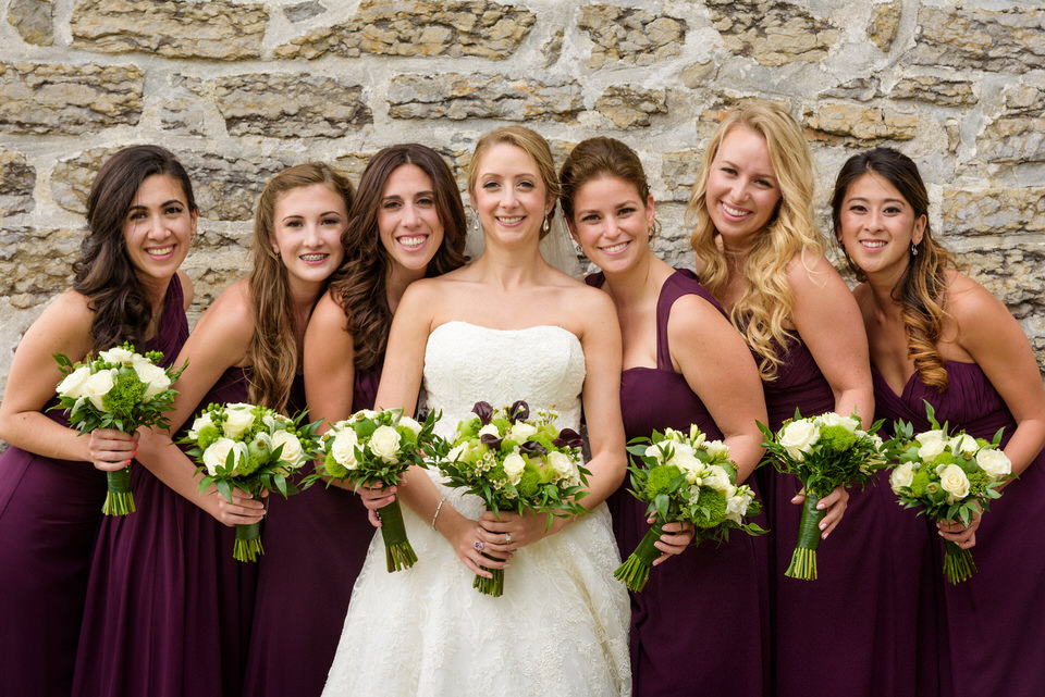 Bridesmaids portrait at the Fur Trade museum in Lachine