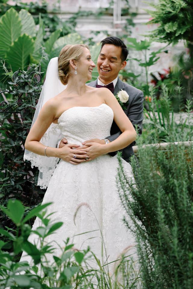 Wedding portrait in greenhouse