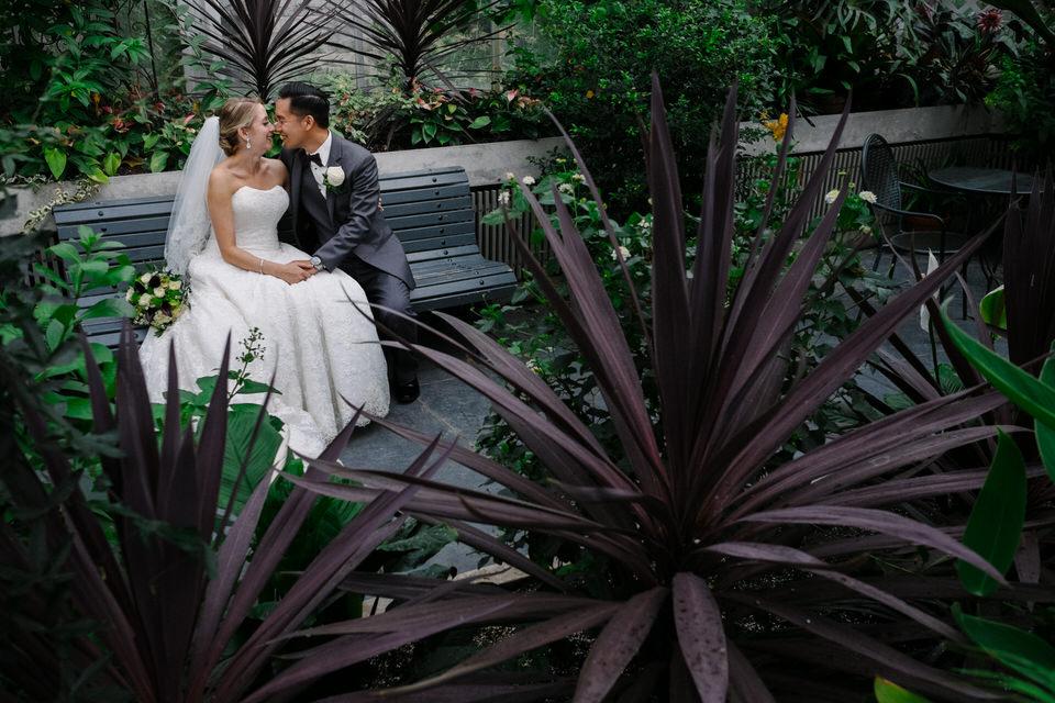 Wedding portrait in Westmount Greenhouse