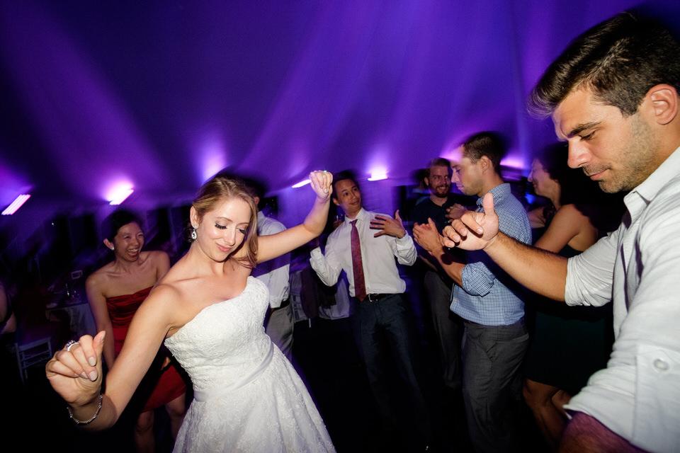 Bride dancing at wedding reception