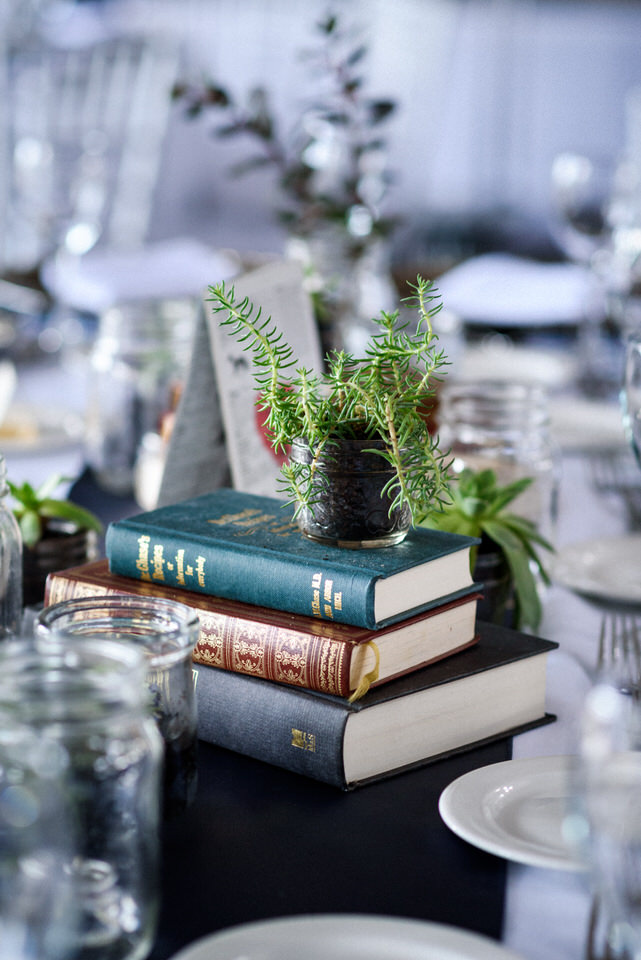 Cute nerdy wedding decorations featuring books