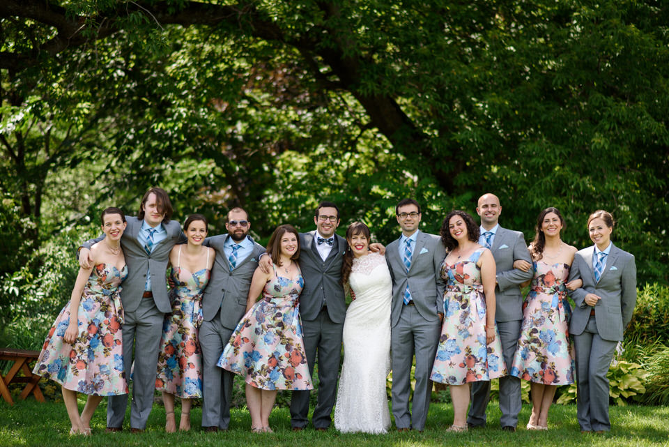 Formal portrait of wedding party at Auberge des Gallant wedding