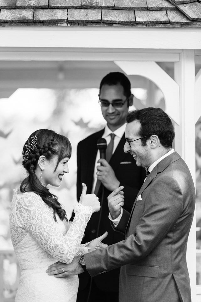 Wedding ceremony thumbs up