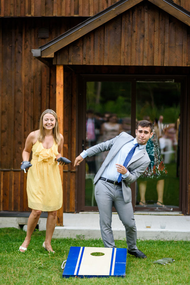 Bean bag toss lawn game at wedding