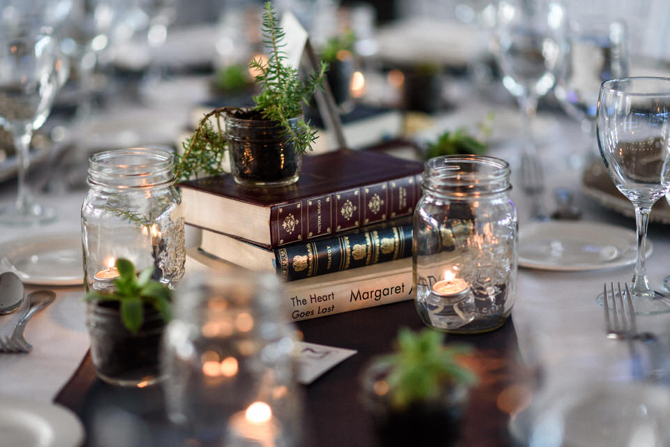 DIY wedding decor featuring their favourite books