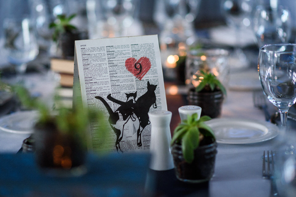 Wedding decorations with dictionary pages and animal prints