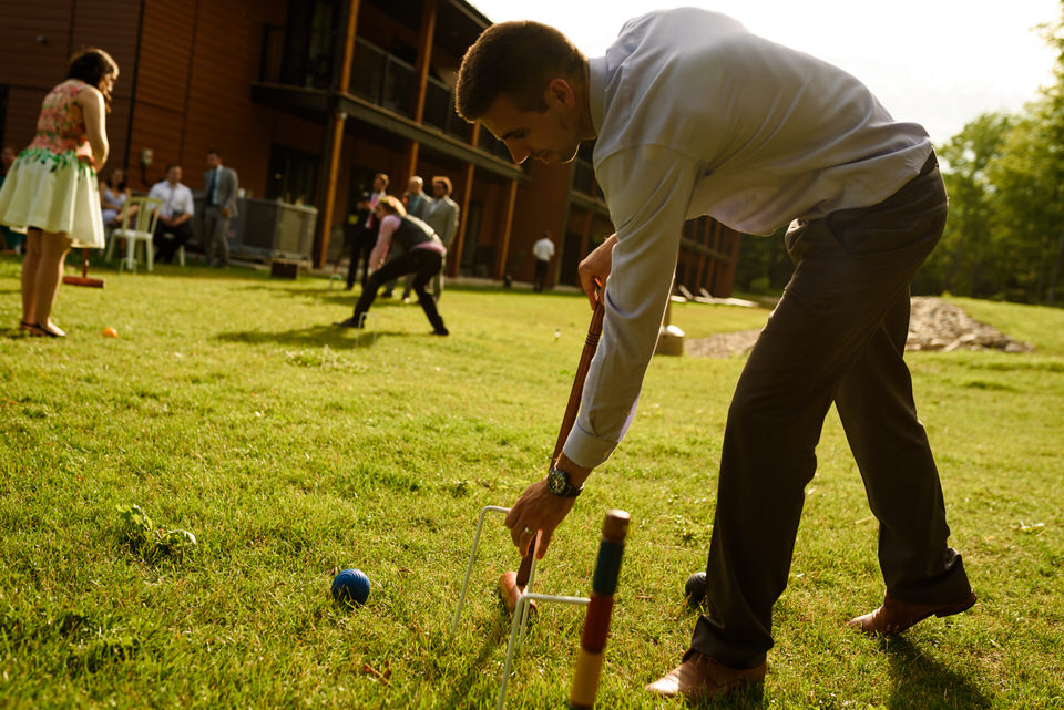 Lawn croquet during cocktail hour