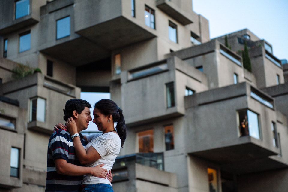 Engagement photo in front of Habitat 67