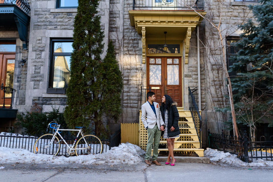 Couple in front of Plateau Mont-Royal house