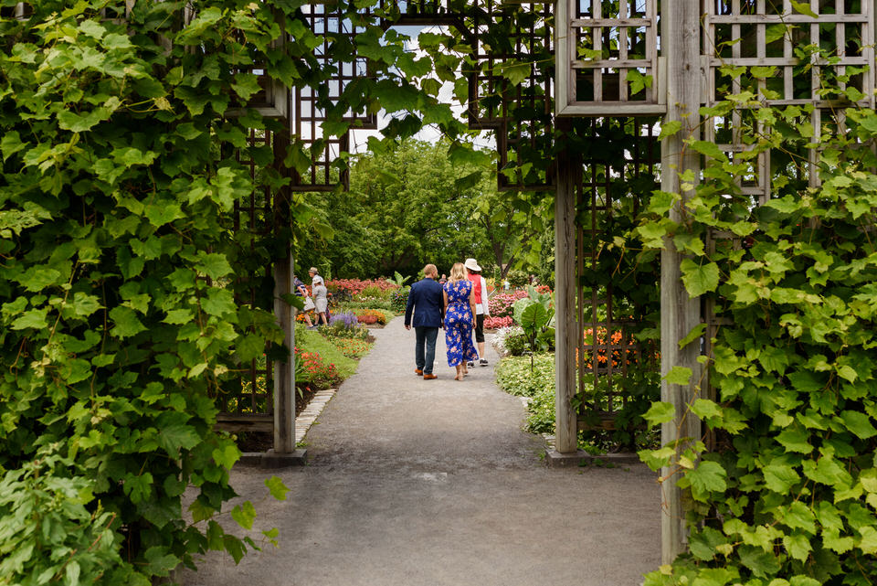 Couple walking in the greenery of the Montreal botanical garden