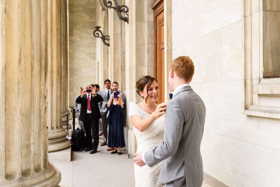 First look: Groom turning to see his bride