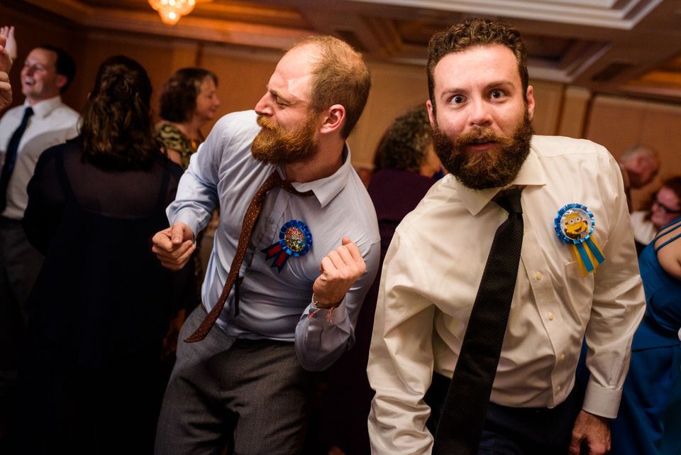 Wedding guest silly dance during the reception