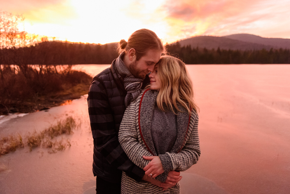 Sunset engagement photo at Mont-Tremblant