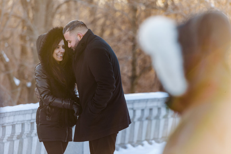 Winter cuddles for warmth at Mount Royal