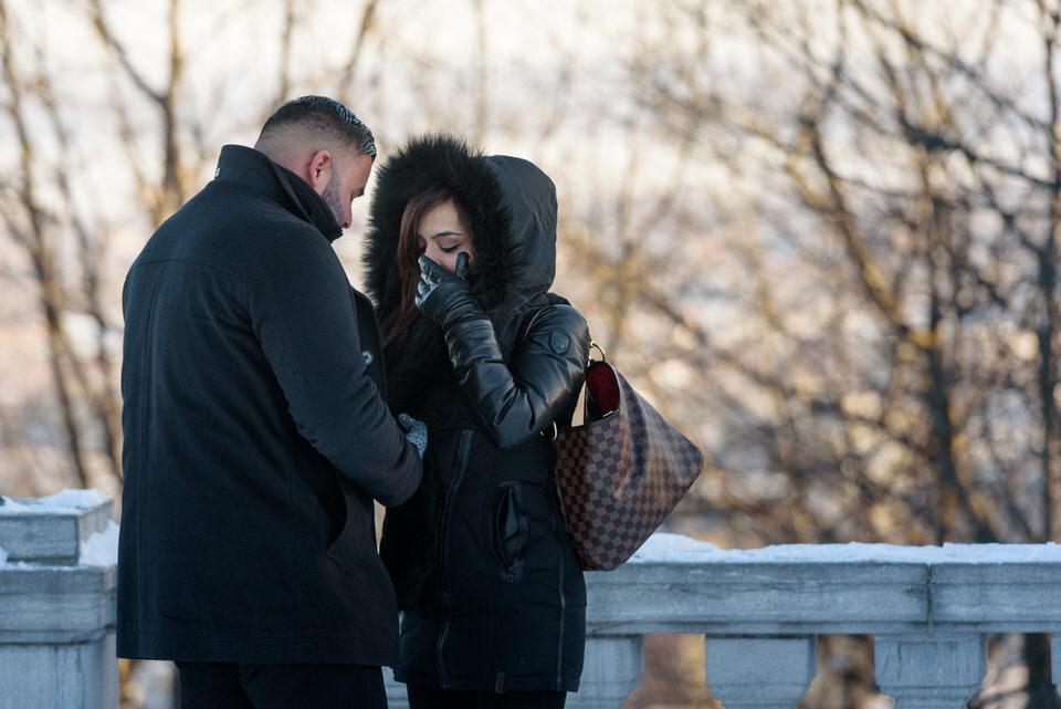 Woman's reaction to surprise proposal